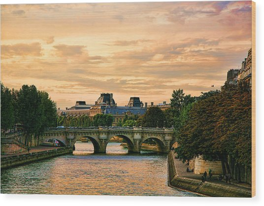 Paris At Sunset The Seine River  Wood Print