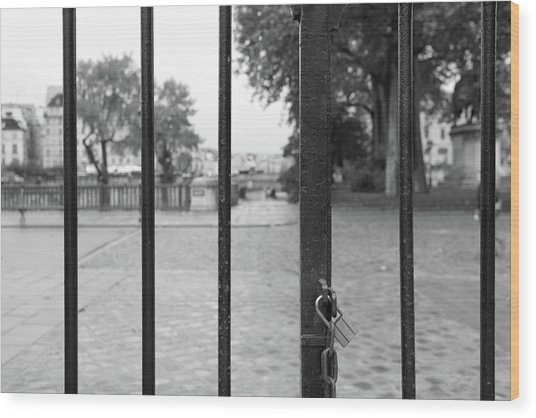 Paris Behind Bars Wood Print