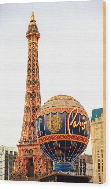 Paris Casino Las Vegas Wood Print by John Rizzuto