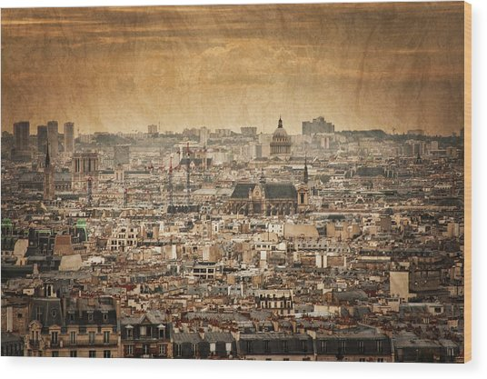 Paris Skyline Wood Print