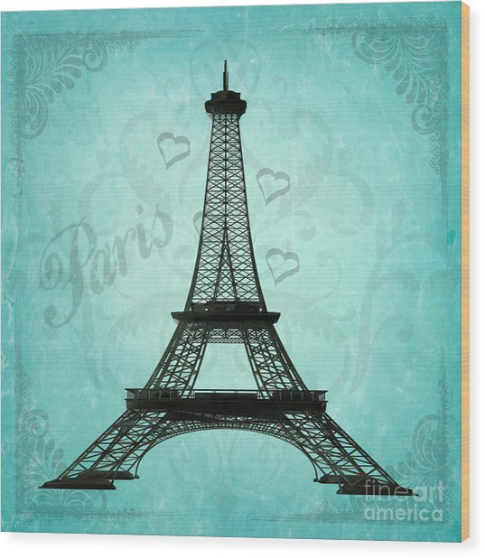 Paris Collage Wood Print