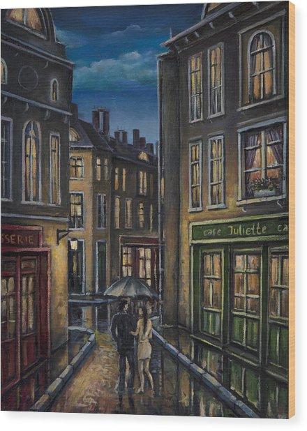 Paris Couple At Night Street Scene Wood Print