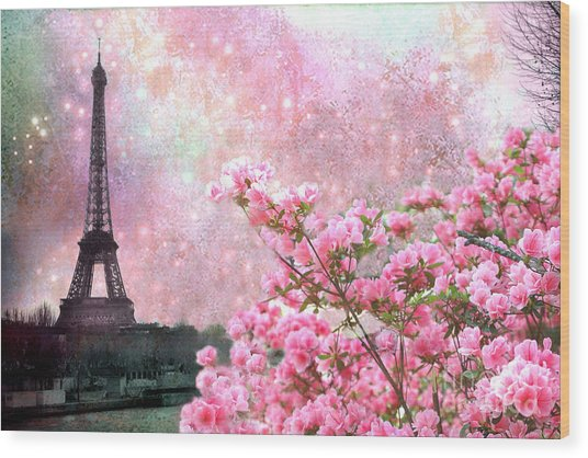 Paris Eiffel Tower Cherry Blossoms - Paris Spring Eiffel Tower Pink Cherry Blossoms  Wood Print