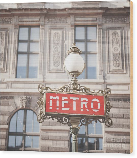 Paris Metro Sign Architecture Wood Print