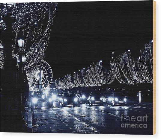 Paris Night Wood Print