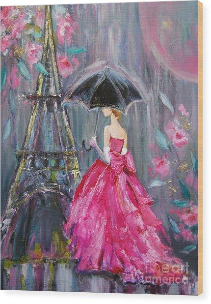 Paris Rain Wood Print