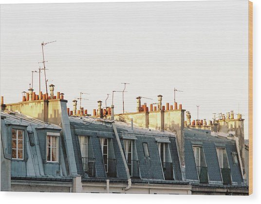 Paris Rooftops Wood Print