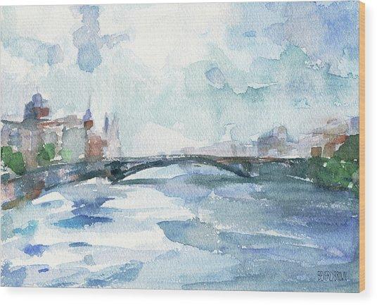 Paris Seine Shades Of Blue Wood Print