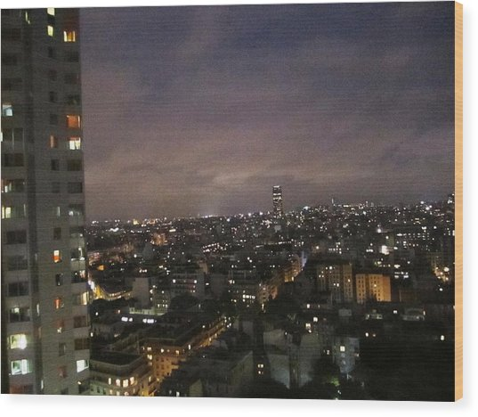 Paris Skyline At Night II France Wood Print