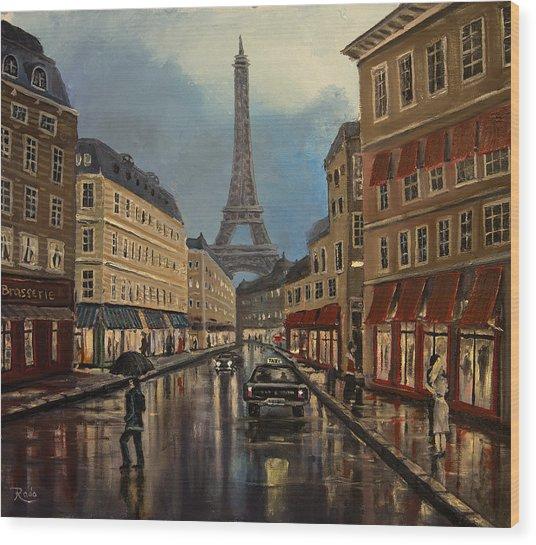 Paris Street Sciene At Night Wood Print