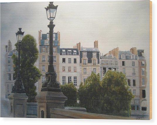 Paris Stroll Wood Print by Victoria Heryet