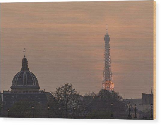Paris Sunset II Wood Print