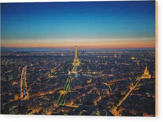 Paris Sunset Wood Print by Ryan Wyckoff