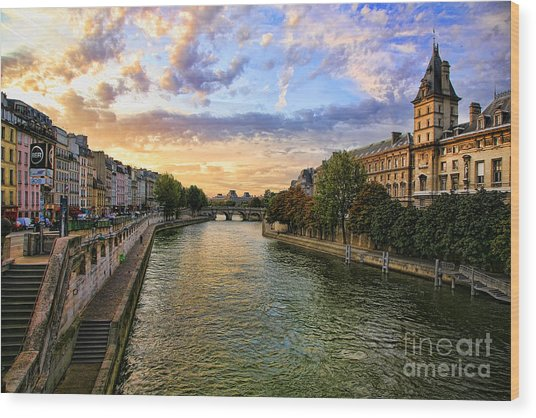 Paris The Seine River C Wood Print