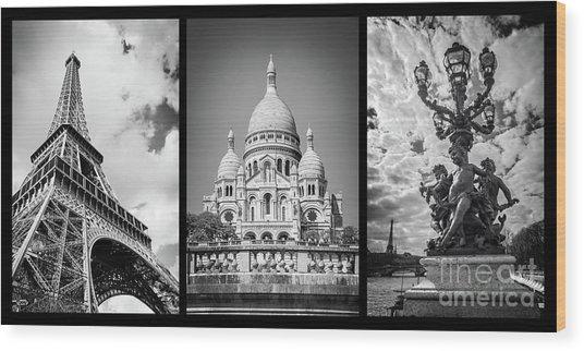 Paris Triptych Wood Print