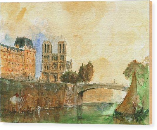 Paris Watercolor Wood Print