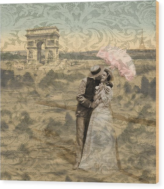 Paris With A Kiss Photo Collage Wood Print