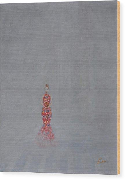 Paris - Woman Holding A Fan In Haze Wood Print by CH Narrationism