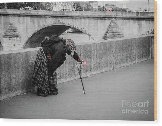 Parisian Beggar Lady Wood Print