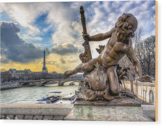 Parisian Cherub On The Pont Alexandre IIi Wood Print by Mark E Tisdale