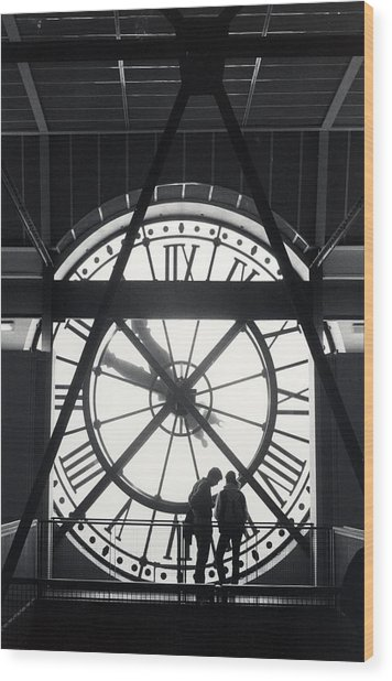 Parisian Clock Wood Print by Andrea Simon