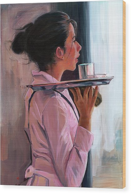 Parisian Waitress Wood Print