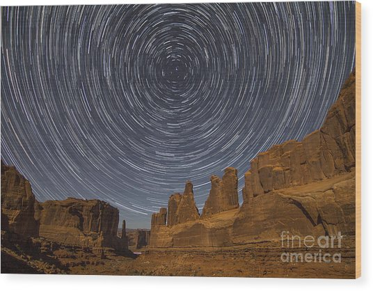 Park Avenue Star Trails Wood Print