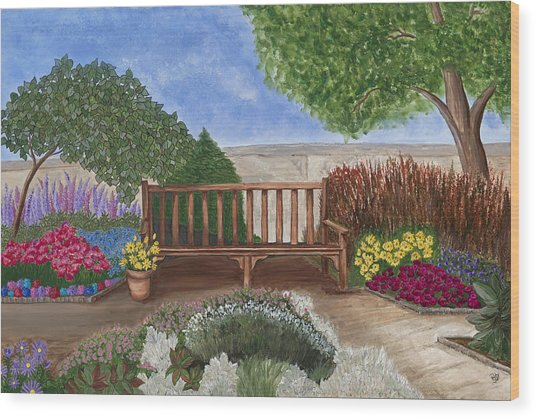 Park Bench In A Garden Wood Print by Patty Vicknair