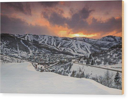 Park City Winter Sunset. Wood Print