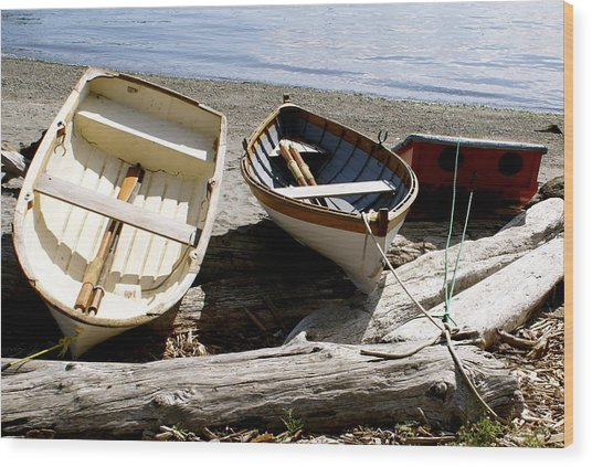 Parked Boats Wood Print by Sonja Anderson