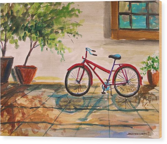 Parked In The Courtyard Wood Print