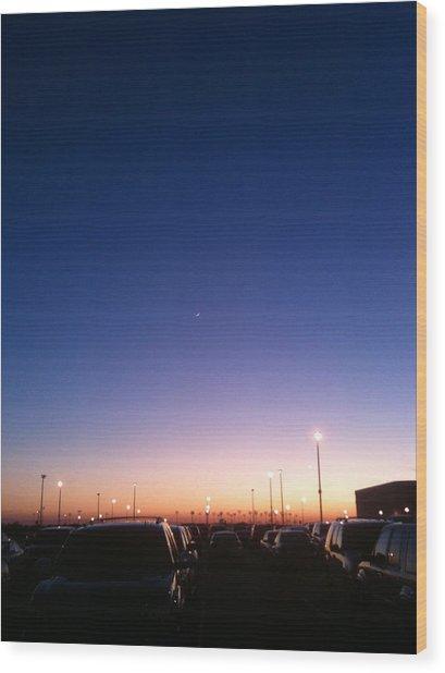 Parking Lot Sunset Wood Print by Jonathan Kotinek