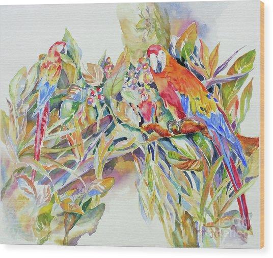 Parrots In Paradise Wood Print