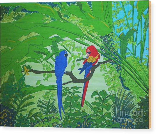 Parrots Wood Print by Michaela Bautz