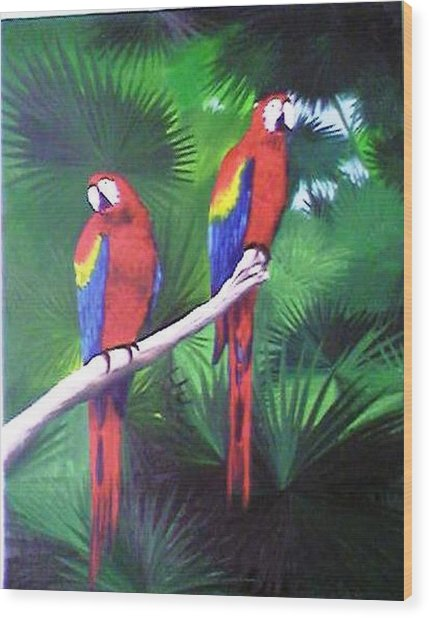 Parrots Molly And Polly Wood Print