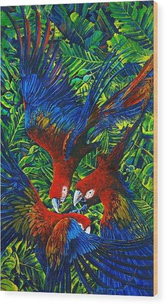 Parrots With Newborn Wood Print