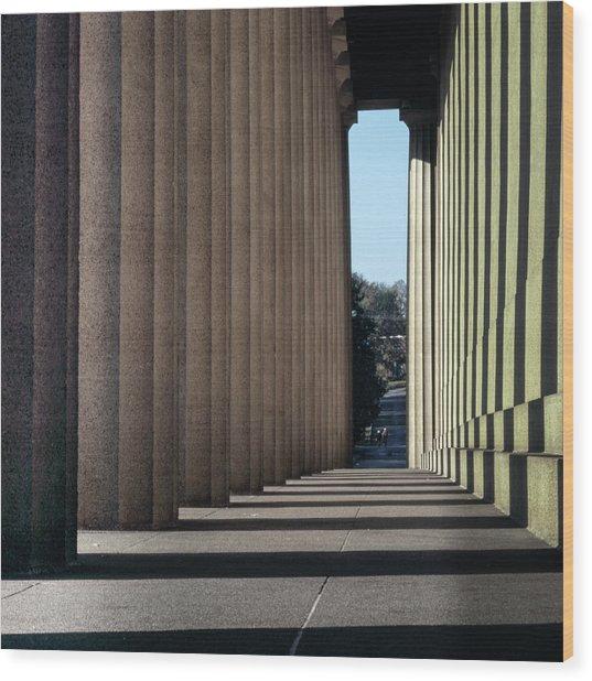 Parthenon Shadow Tunnel Wood Print