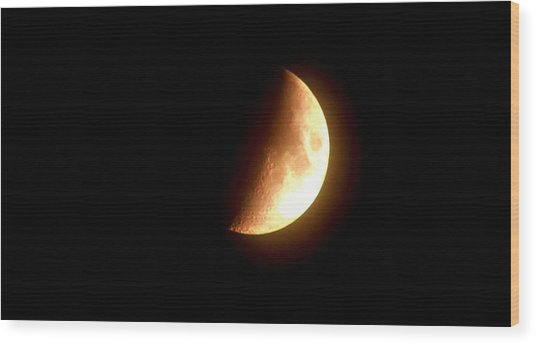 Partial Moon Wood Print