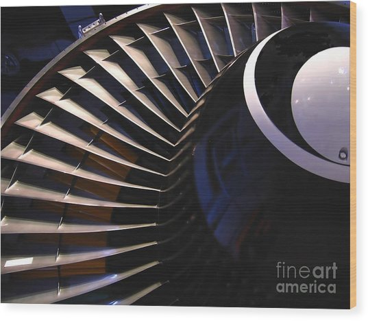 Partial View Of Jet Engine Wood Print