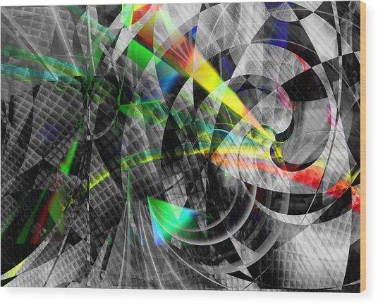 Particles Of Light Dancing Wood Print