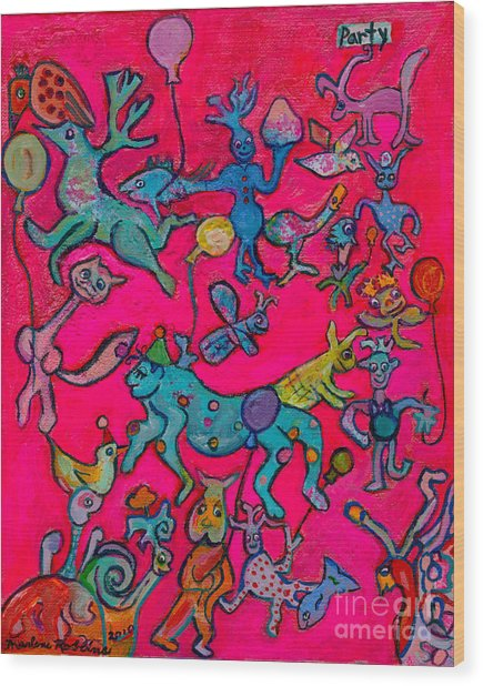 Party Animals Wood Print by Marlene Robbins