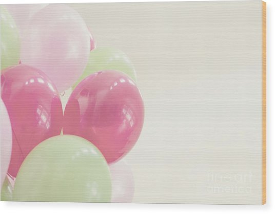 Party Balloons Wood Print