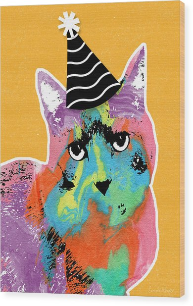 Party Cat- Art By Linda Woods Wood Print