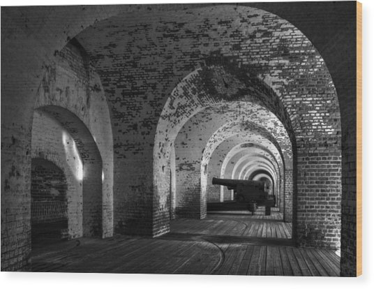Passageways Of Fort Pulaski In Black And White Wood Print