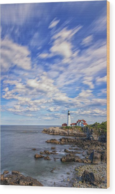 Passing Clouds At Portland Head Light Wood Print