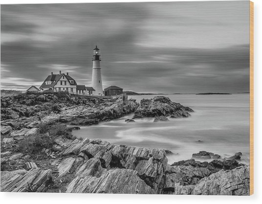 Passing Storm At Portland Head Light Wood Print