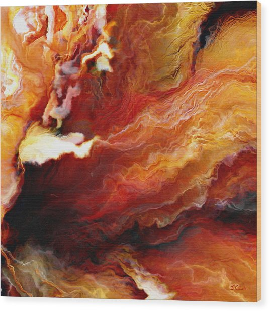 Passion - Abstract Art - Triptych 3 Of 3 Wood Print