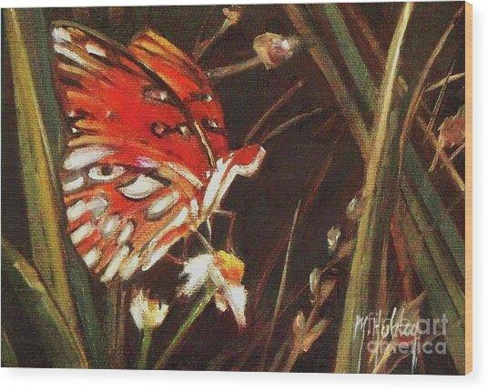 Passion Butterfly - Gulf Fritillary Wood Print