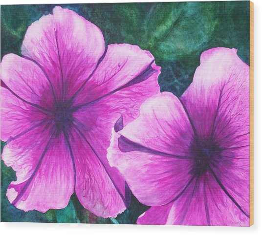 Passionate Petunias Wood Print by Ally Benbrook
