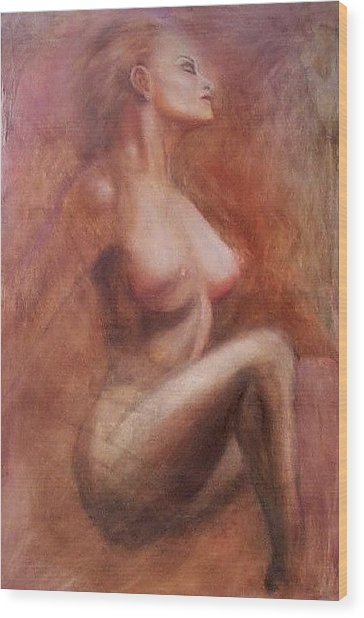 Passionate Woman Wood Print by Elizabeth Silk